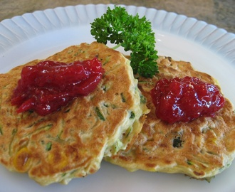 Zucchini Corn Pancakes with Homemade Organic Low Sugar Plum Jam
