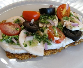 Raw Vegan Pesto Pizza On A Sprouted Lentil Crust