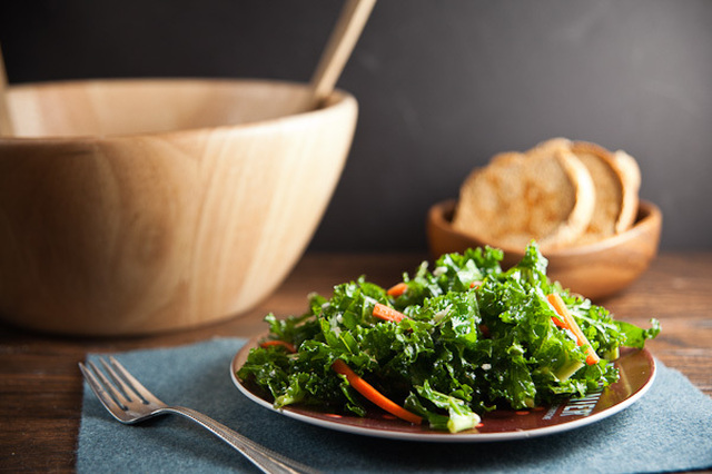 Kale Salad with Blue Cheese + Pickled Carrots