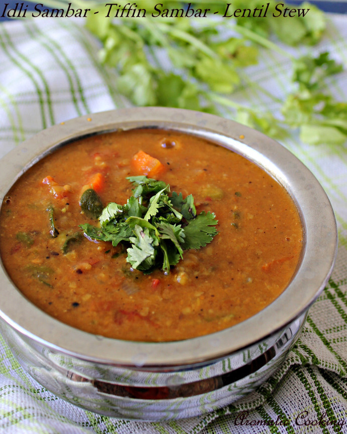 Idli Sambar/ Tiffin Sambar/ Vegetable Lentil Stew
