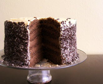 Chocolate Mousse Cake with Butterscotch Mousse Frosting and Chocolate Sprinkles