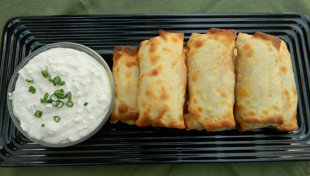 Buffalo Chicken Egg Rolls with Blue Cheese Dip