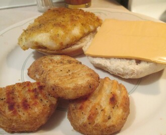 Fried Panko Coated Cod Sandwich w/ Baked Seasoned Potato Grillers