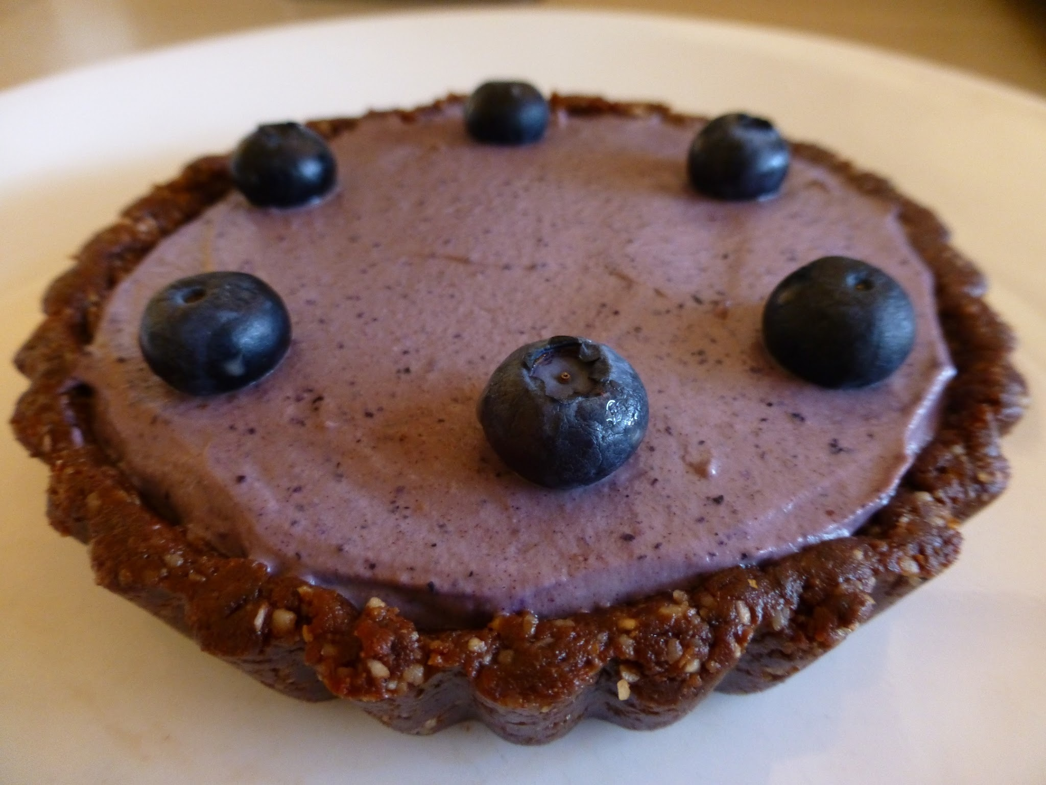 Raw Vegan, Gluten Free, Blueberry Cream Tart In A Chocolate Coconut Crust - Perfect For Valentines Day!