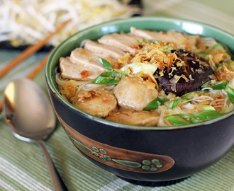 Pork and Mushroom Noodle Soup (Bun Moc)