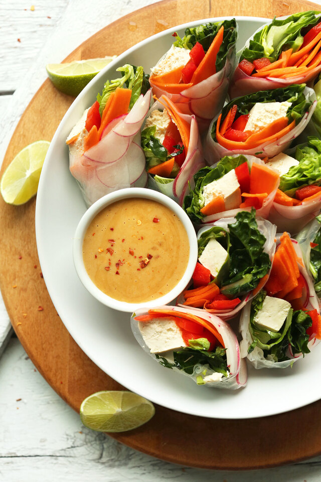 Thai Spring Rolls with Cashew Dipping Sauce