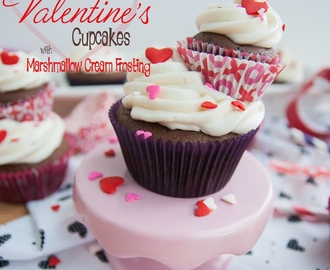 Chocolate Valentines Cupcakes with Marshmallow Cream Frosting