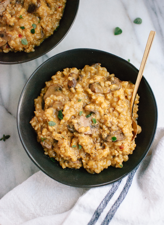 Easy Brown Rice Risotto with Mushrooms and Fresh Oregano