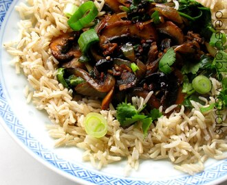 Cremini Mushroom in Chili Garlic Sauce with Brown Rice