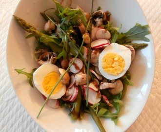Salade roquette, haricots verts, asperges, radis, champignons, oeuf dur, roquette (Arugula salad, green beans, asparagus, radishes, mushrooms, hard boiled eg