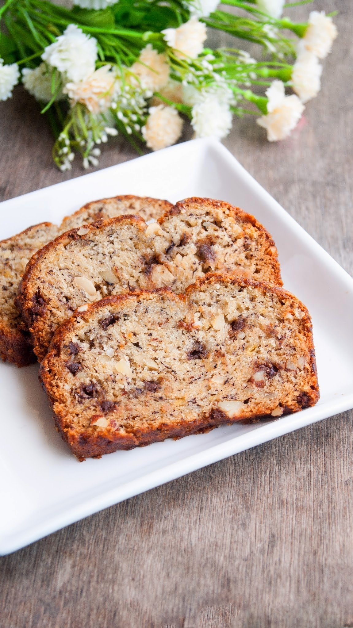 Eggless Banana Bread with walnuts and chocolate chips
