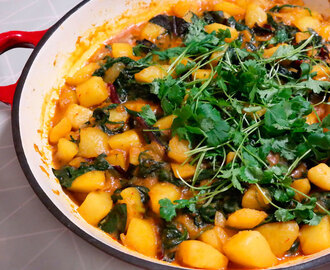 Aloo Palak, indiske spinatpoteter