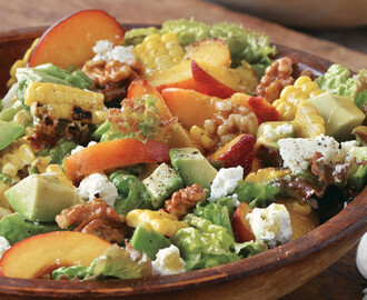 Red-Leaf Lettuce Salad with Grilled Corn, Peaches, Avocado and Walnuts Recipe