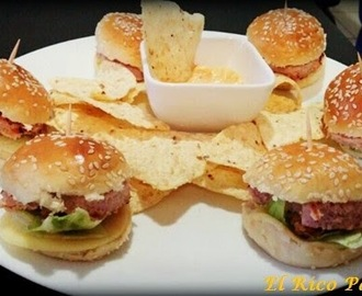 Mini hamburguesas: barbacoa, queso & mayonesa