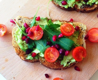 Avocado Pomegranate Open Sandwich
