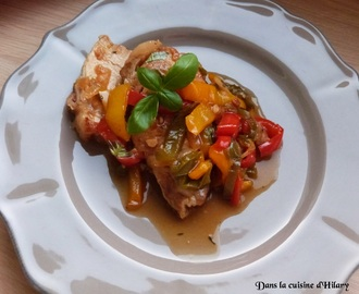 Rôti de porc aux trois poivrons / Pork roast and its three peppers