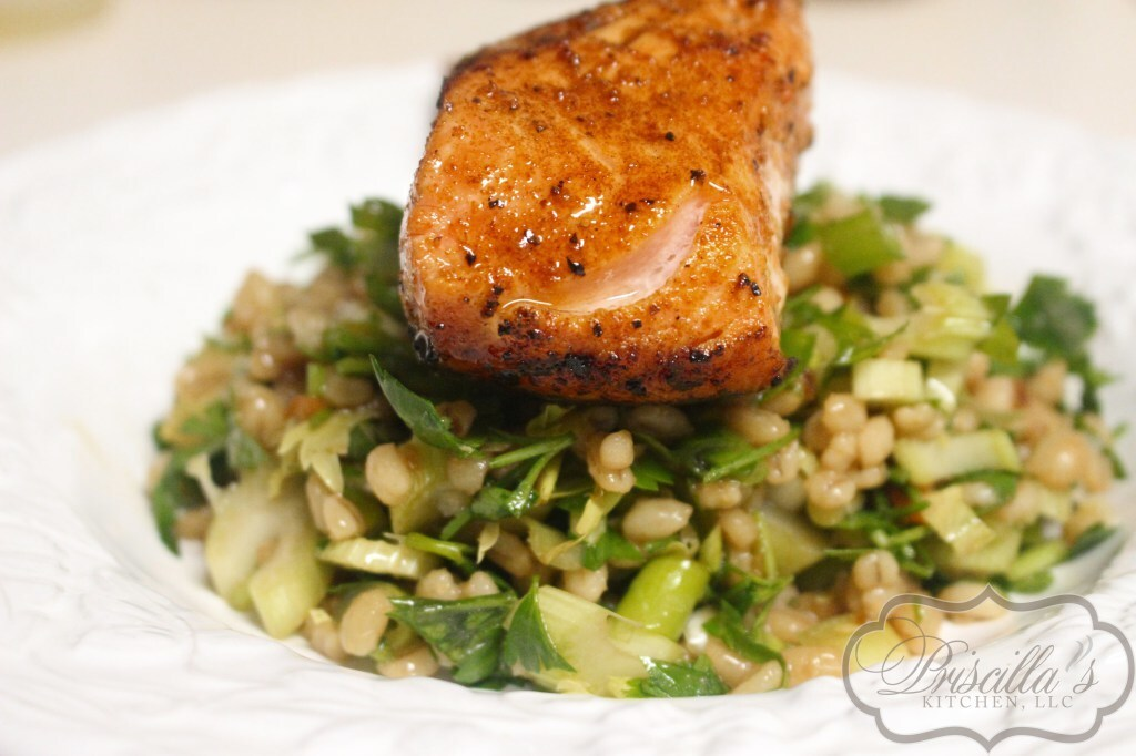 Healthy-Scrumptious Barley Salad W/Pan Roasted Salmon
