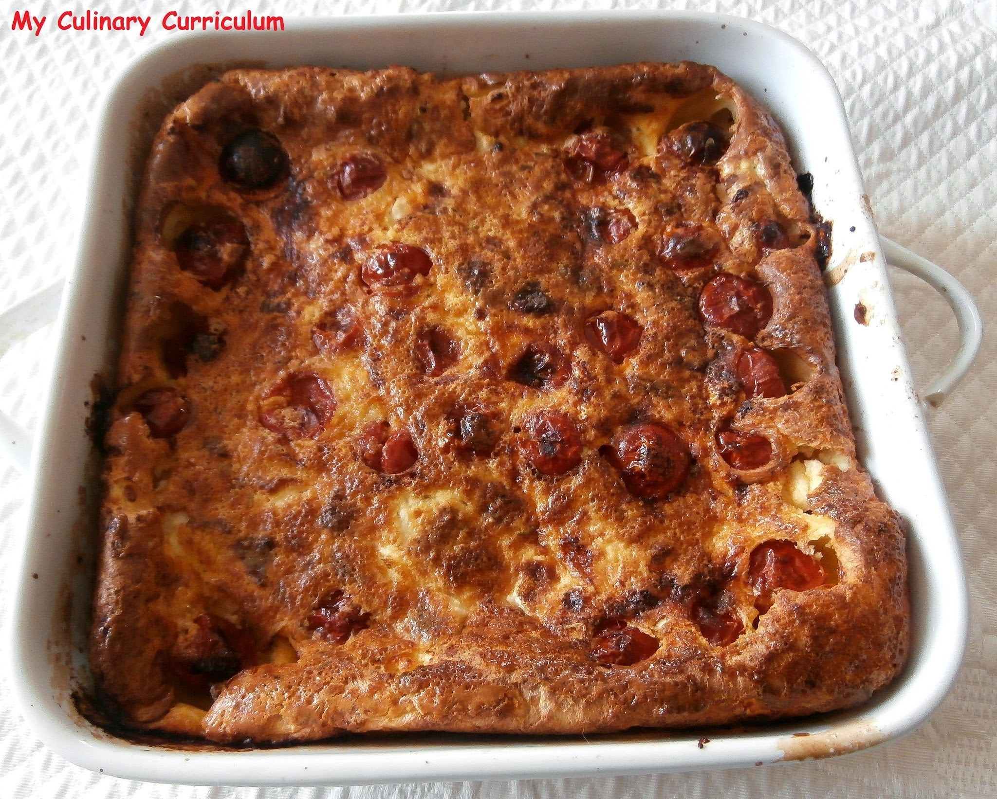 Clafoutis aux tomates cerises et chèvre frais (Clafoutis with cherry tomatoes and goat cheese)