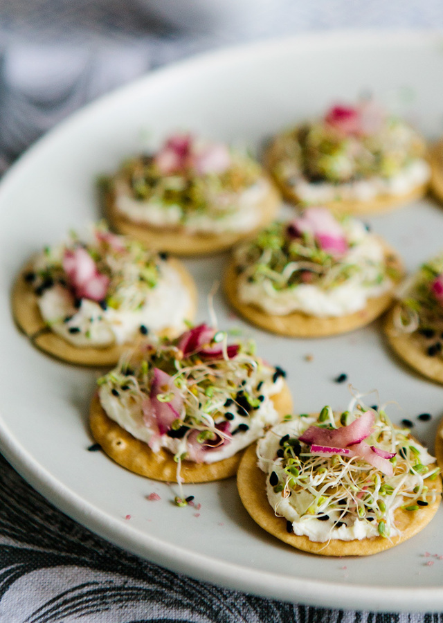 MASCARPONE SPROUT CANAPES WITH COCONUT POUCHONG TEA