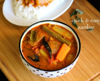 vegetable sambar recipe | quick mixed veg sambar recipe
