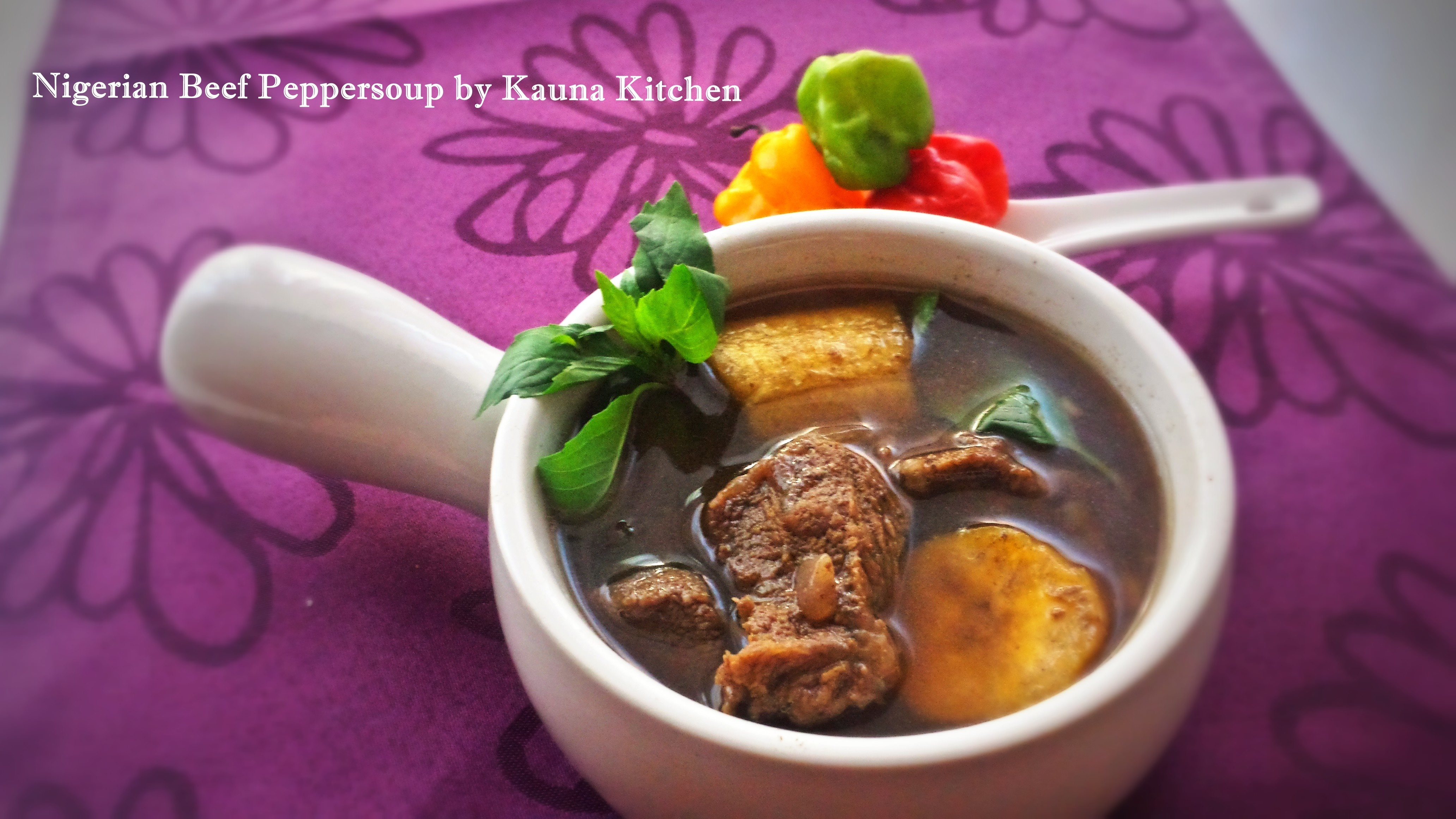 Nigerian Beef Peppersoup With Boiled Plantains