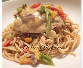 Nigerian Spiced Chicken Sauce served with Spaghetti