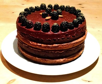 Chocolate orange and almond layer cake with blackberries