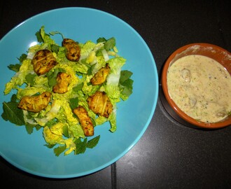 Tandoori Chicken and Tofu on a Herb Salad with a Yoghurt and Mango Dressing Recipe
