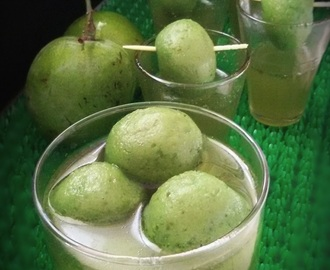Aam Panna Rasgulla/Rasogolla(Indian cottage cheese ball soaked in green mango juice)