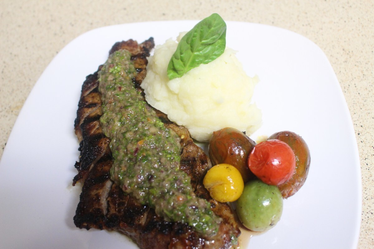 Grilled Steak With Spicy Toasted KuliKuli & Scent leaf Pesto