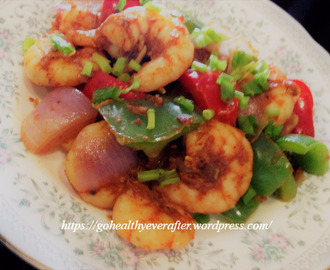 Garlic prawns with bell peppers