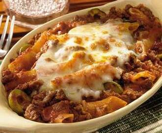 Baked Mostaccioli With Meat Sauce