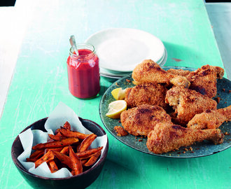 Crisp Baked Chicken with Sweet Potato Wedges by Lizzie King From Lizzie Loves Healthy Family Food