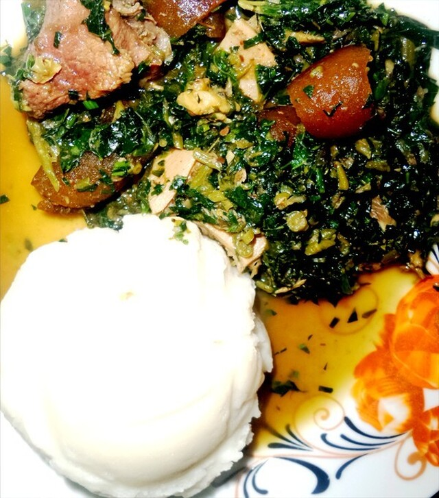 Food and Recipe: Edika Ikong – Pumpkin Leaves Soup by Enoh Akpan