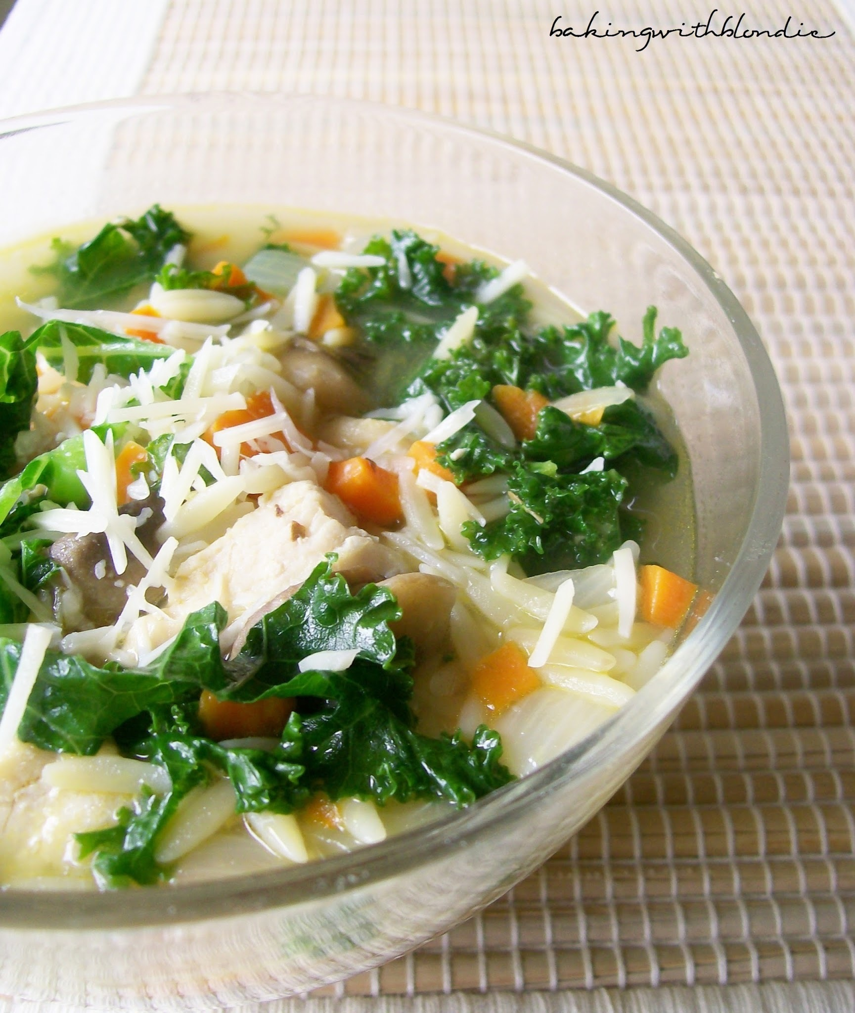 Chicken and Orzo Soup with Kale and Basil