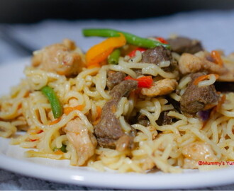 Chicken and Liver Stir-fried Noodles