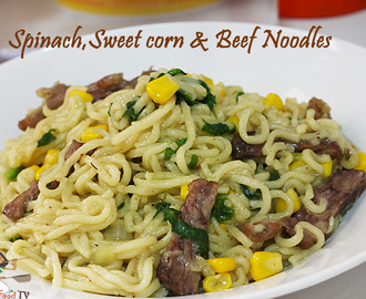 Spinach-Sweet Corn and Beef Noodles