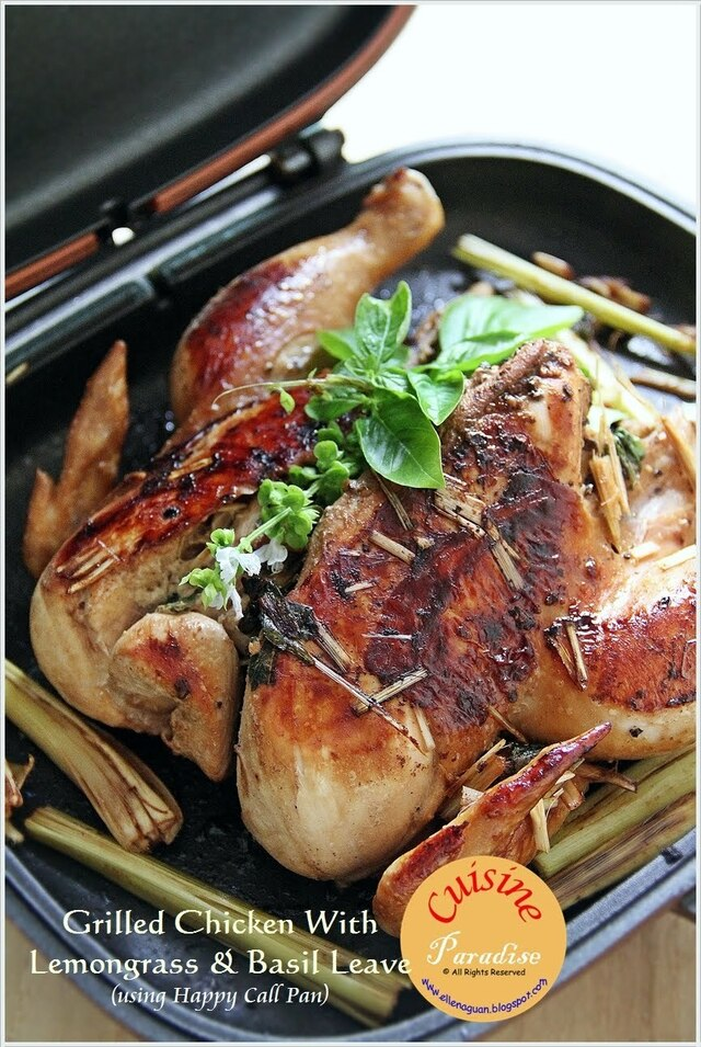 Grilled Chicken With Lemongrass and Basil Leaves