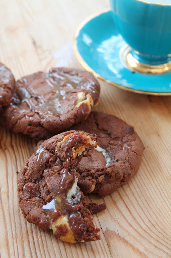 Double Chocolate Chip Cookies With Salted Caramel Drizzle
