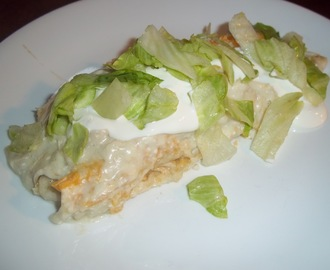 White Chicken Enchiladas with Creamy Green Chili Sauce