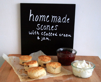 Easy home made scones with clotted cream & home made jam
