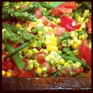 Mexican Garden Salad with Corn, Green Beans and Tomatoes in a Cilantro Jalapeño Sauce
