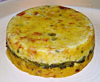 Greens Stuffed Corn Pudding ♥ Easy, peasy side for two