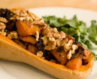 Caramelized Onion and Mushroom Stuffed Butternut Squash #SundaySupper