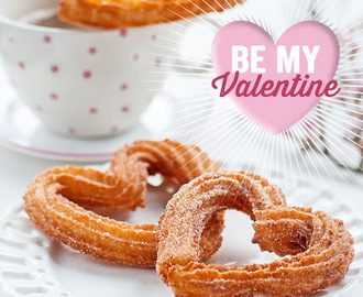 Happy Valentine's day with heart shaped churros
