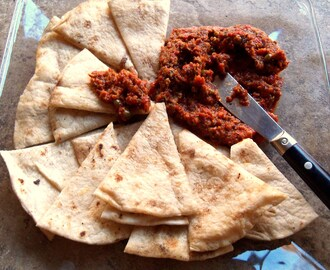 Roasted Red Pepper Tapenade with Grilled Tortillas