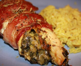 Bacon-Wrapped Chicken Stuffed with Spinach and Cheese