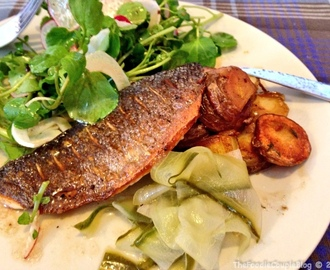 SeaBass Fillet with a Watercess, Fennel & Radish Salad and Pickled Cucumber
