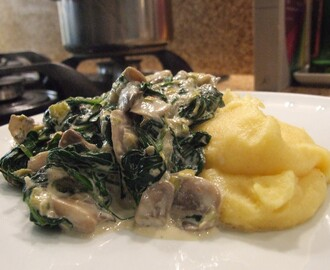 Polenta with creamy spinach and mushrooms