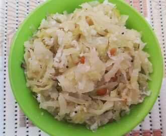 cabbage poriyal recipe, how to make cabbage poriyal,  Cabbage Stir Fry